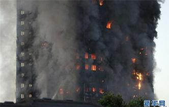伦敦一栋公寓楼建筑发生火灾(组图)